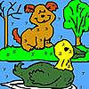 Сам куче и патица оцветяване игра