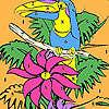 Yalnız papağan üzerinde ağaç boyama oyunu