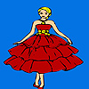 Beautiful red dressed girl coloring game
