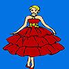 Mooie rode gekleed meisje kleurplaat spel
