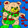 Bear and valentine hearts coloring game