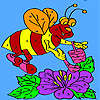 Bee honey collects coloring game