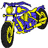 Coloriage grosse moto bleu jeu
