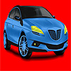 Para colorear de coche grande azul concepto juego
