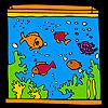 Nagy akvárium és színes halak színező játék