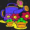 игра Большие цветы в саду окраску