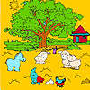 Big farm tree and animals coloring game