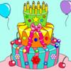 Torta de cumpleaños para colorear juego