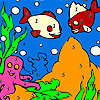 Mavi deniz Balıklar Boyama oyunu
