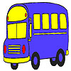 Blue student bus coloring game