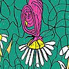 Fluture şi margarete colorat joc