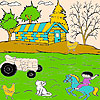 Cat and farmer coloring game