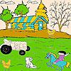 Gato y el granjero para colorear juego