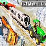Chained Tractor Towing Train Simulator game
