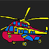 Colorful military helicopter coloring game