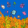 Colorful ocean and fishes coloring game