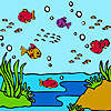 Colorful ocean fishes coloring game