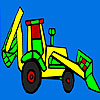 Colorful village tractor coloring game