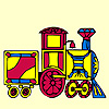 Kleurrijke trein kleurplaat spel