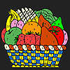 Colorful fruits in the table coloring game