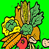 Colorful garden vegetables coloring game