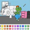 Juegos de color - dinosaurios garaje de coche