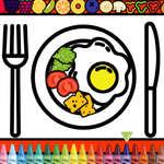 Colorer et décorer l'assiette du dîner jeu