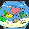 Cute fishes in the aquarium coloring game