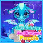 Lindo Unicornios y Dragones Puzzle juego