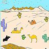Désert et chameaux à colorier jeu