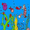 Deep ocean fish and seahorse coloring game