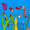 Pescado de mar profundo y Caballito de mar para colorear juego