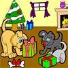 Kutyus karácsonyi színező játék