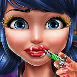 Точкирани момиче устни инжекции игра