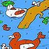 Duck family in the river coloring game