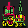 Fast red train coloring game