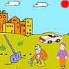Landwirt und Kind Färbung Spiel