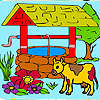 Farm and cow coloring game