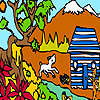 Farm boy at the cottage coloring game