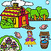 Farmer girl and flower garden coloring game