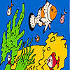 Balıklar ve deniz süngerleri boyama oyunu