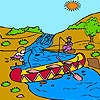 Fishermen and river coloring game