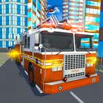 Simulador de conducción de rescate de camiones de Fire City juego