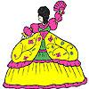 Pluizig jurk meisje kleurplaat spel