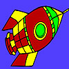 Flying Space rocket coloring game