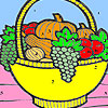 Fruit basket in the kitchen coloring game