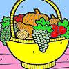 Cesta de frutas en el colorante de cocina juego
