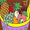 Frutas para colorear de una cesta juego