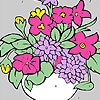 Fresh flowers in a vase coloring game