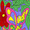 Funny pink butterfly coloring game